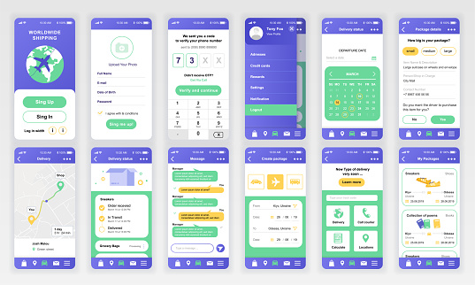 Set of UI, UX, GUI screens Delivery app flat design template for mobile apps