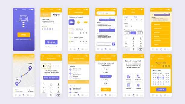 Set of UI, UX, GUI screens Delivery app flat design template for mobile apps – artystyczna grafika wektorowa