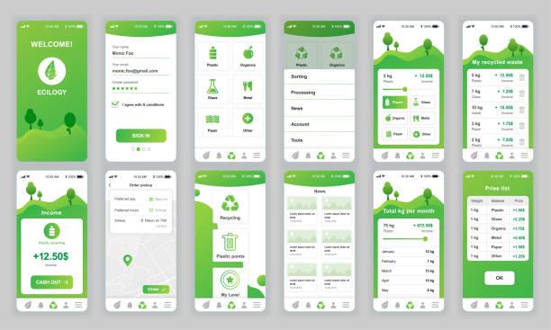 Set of UI, UX, GUI screens Ecology app flat design template for mobile apps – artystyczna grafika wektorowa