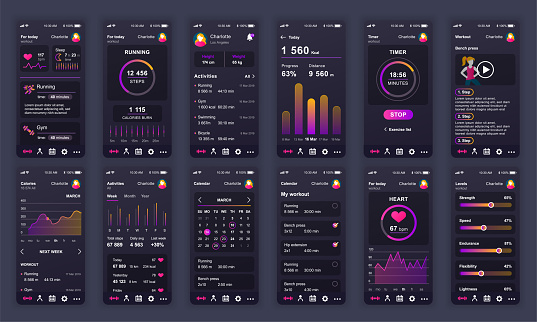 Set of UI, UX, GUI screens Fitness app flat design template for mobile apps