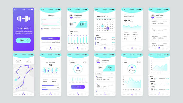 Set of UI, UX, GUI screens Fitness app flat design template for mobile apps – artystyczna grafika wektorowa
