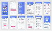 Set of UI, UX, GUI screens Medicine app flat design template for mobile apps, responsive website wireframes. Web design UI kit. Medicine Dashboard.