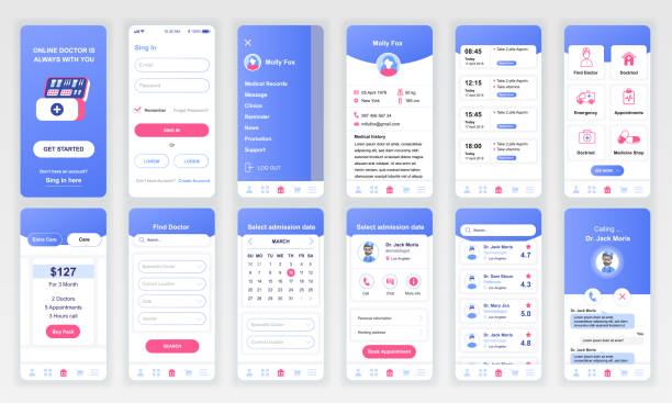 set of ui, ux, gui screens medicine app flat design template for mobile apps - graficzny interfejs użytkownika stock illustrations