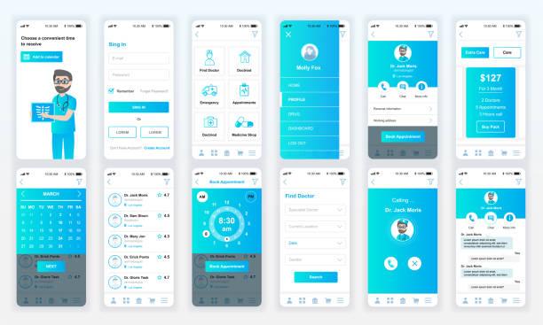 Set of UI, UX, GUI screens Medicine app flat design template for mobile apps – artystyczna grafika wektorowa