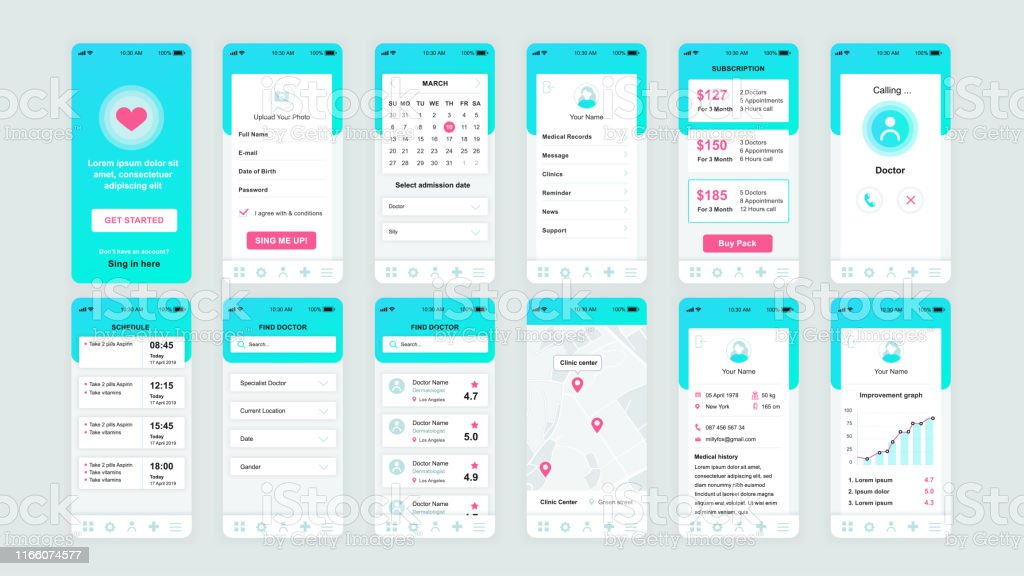 Set of UI, UX, GUI screens Medicine app flat design template for mobile apps - Grafika wektorowa royalty-free (Ambulans)