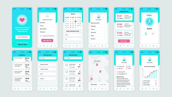 Set Of Ui Ux Gui Screens Medicine App Flat Design Template For Mobile Apps - Stockowe grafiki wektorowe i więcej obrazów Ambulans