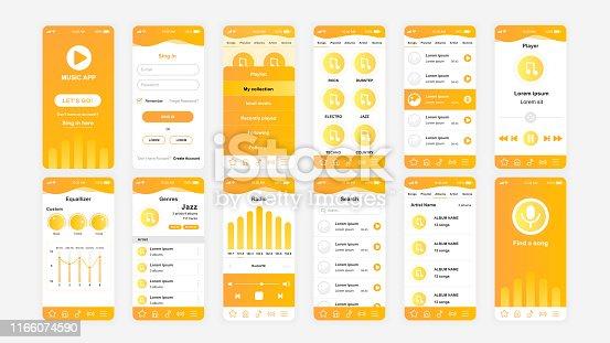 Set of UI, UX, GUI screens Music app flat design template for mobile apps, responsive website wireframes. Web design UI kit. Music Dashboard.