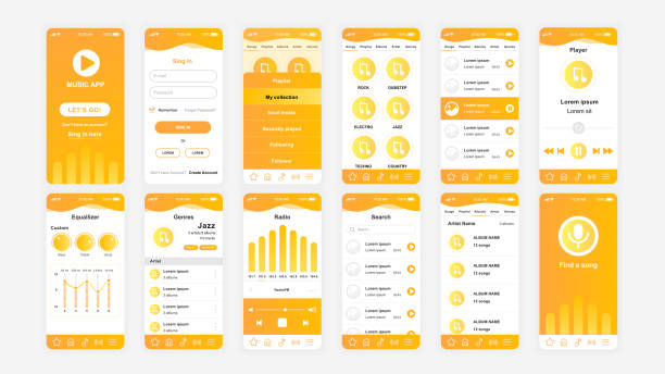Set of UI, UX, GUI screens Music app flat design template for mobile apps vector art illustration