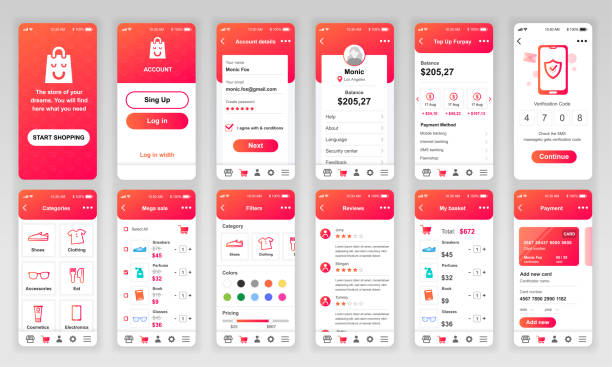 set of ui, ux, gui screens shopping app flat design template for mobile apps - strona startowa stock illustrations