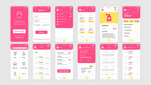 Set of UI, UX, GUI screens Shopping app flat design template for mobile apps vector art illustration