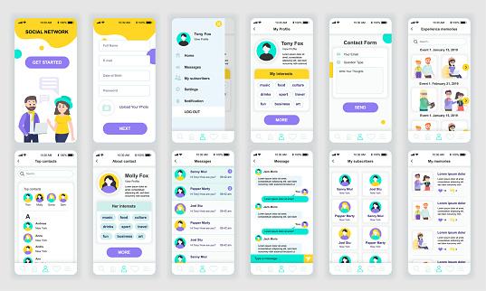 Set of UI, UX, GUI screens Social Network app flat design template for mobile apps