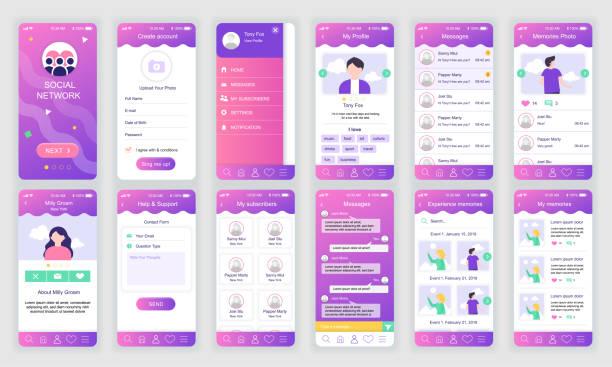 Set of UI, UX, GUI screens Social Network app flat design template for mobile apps – artystyczna grafika wektorowa