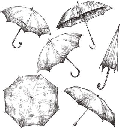 Set of umbrella drawings, hand-drawn, vector illustration