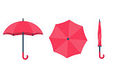 Set of umbrellas. Top view, front and folded umbrella. Rain protection on white background isolated. Flat design style. For web design, mobile applications, and printing.Vector illustration.