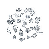 Set of underwater doodle elements: mermaid, seashells, starfishes, fishes, jellyfishes, octopus, seahorse, seaweed, crab, waves. Hand drawn sketch marine cartoon characters. Vector illustration.