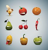 Set of Unhappy fruits and vegetables
