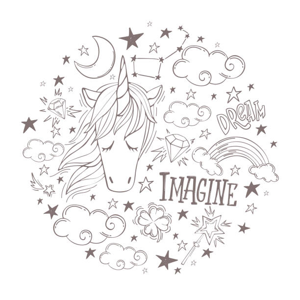 set of unicorn and magic elements - unicorn line drawings stock illustrations, clip art, cartoons, & icons