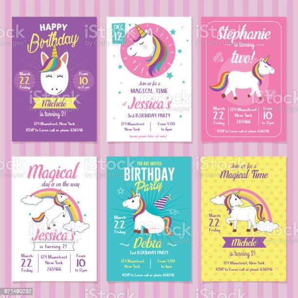 Set of unicorn birthday invitation cards vector id871490232?b=1&k=6&m=871490232&s=612x612&h=nh6vlgftst9q mklengdv2v44ad vmadpq3zw00c1u8=