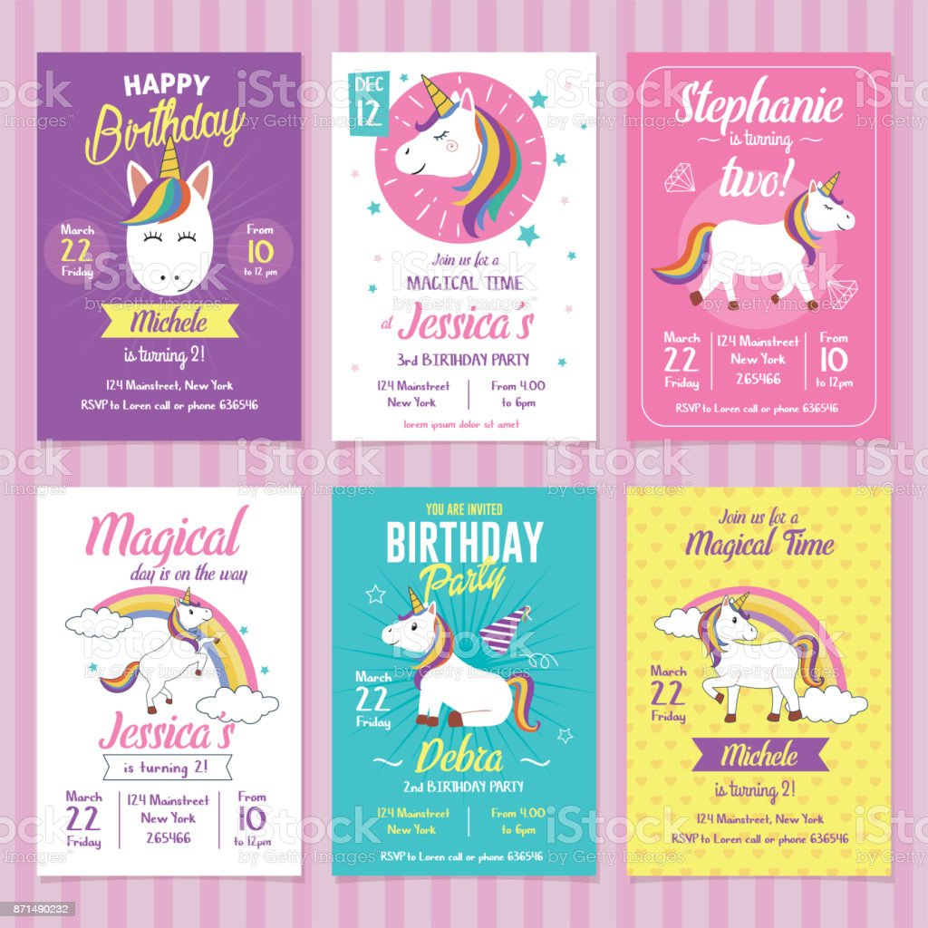 Set of Unicorn Birthday Invitation Cards vector art illustration