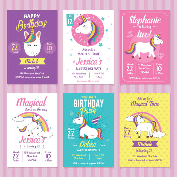 Set of Unicorn Birthday Invitation Cards Card, label and poster for printing. Invitation for kids party unicorn stock illustrations