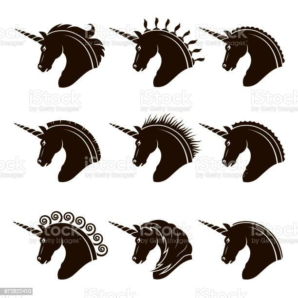 Set of unicorn heads vector id872822410?b=1&k=6&m=872822410&s=612x612&h=nsybwtjsimzigl0fzyrluw q435lq8rdxuo1r342py4=