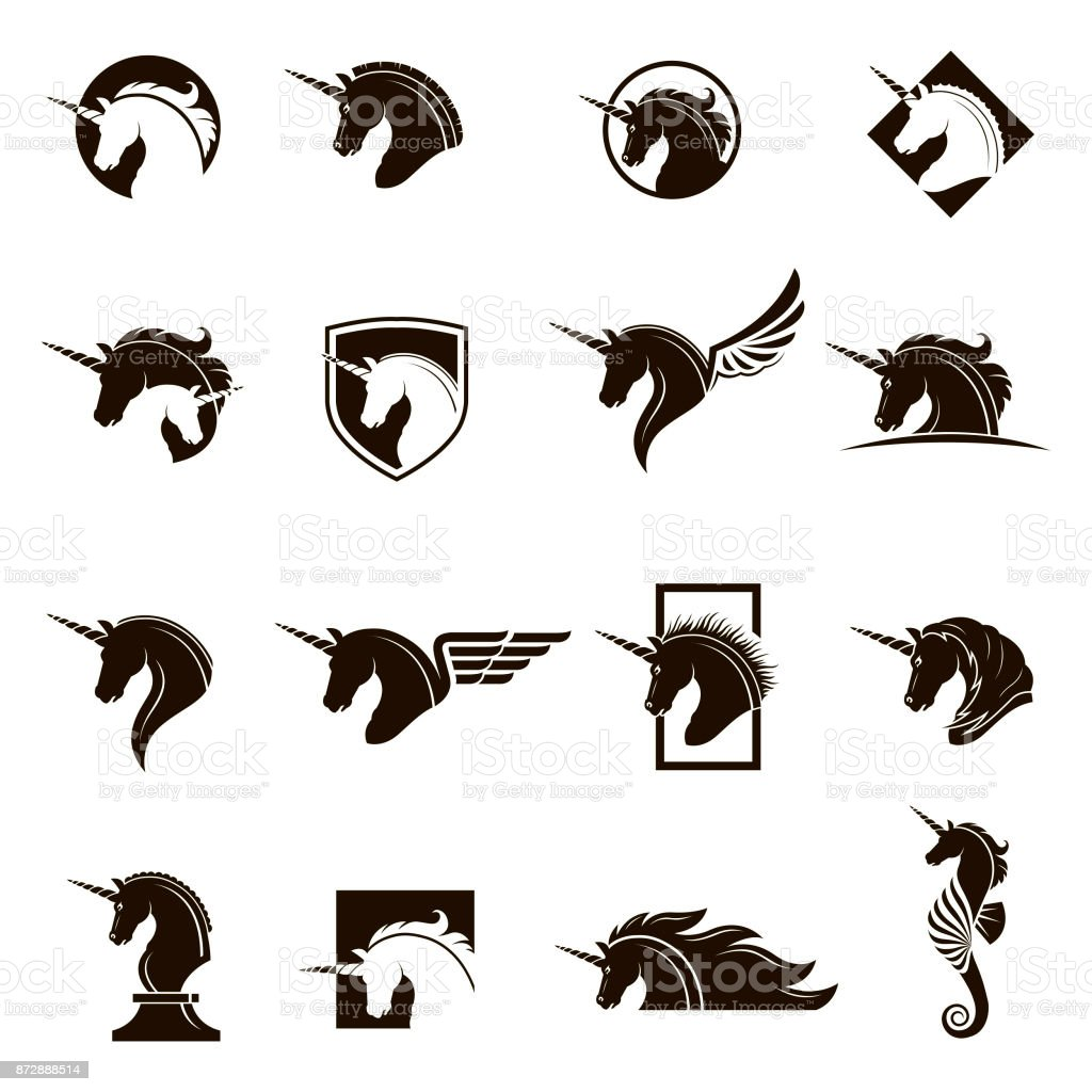 set of unicorn heads vector art illustration
