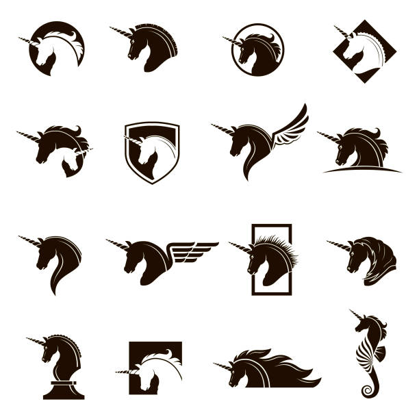 set of unicorn heads vector art illustration