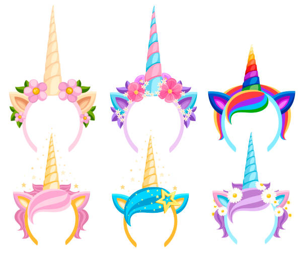 Set of Unicorn tiaras with flowers and leaf. Vector fashion accessory headband. Head band with rainbow style. Vector illustration isolated on white background Set of Unicorn tiaras with flowers and leaf. Vector fashion accessory headband. Head band with rainbow style. Vector illustration isolated on white background. diademe stock illustrations