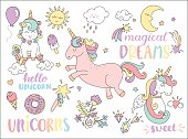 Set of unicorns and other fairy tales stickers.