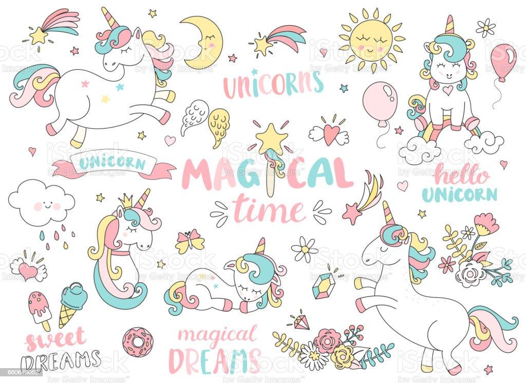 Set of unicorns and other magic elements.