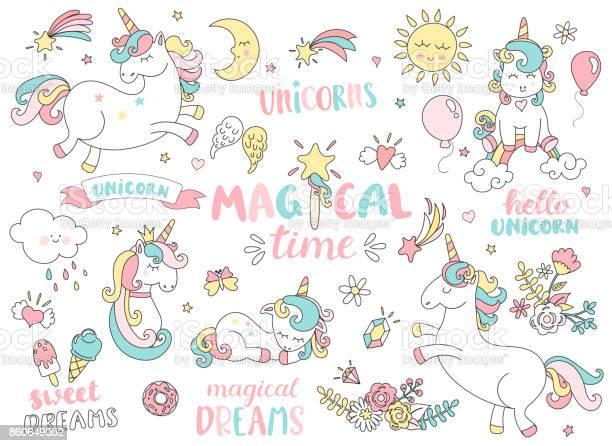 Set of unicorns and other magic elements vector id860649052?b=1&k=6&m=860649052&s=612x612&h=jlc hdsxxw fjfcfajwresht qx2hc7tg9knudyxp1w=