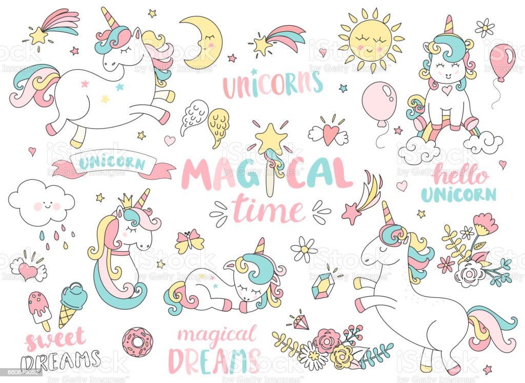 Set of unicorns and other magic elements. vector art illustration