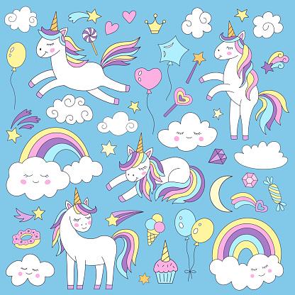 A set of unicorns and various magic elements.