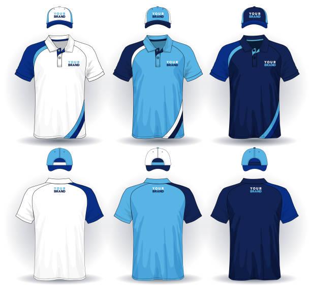 illustrazioni stock, clip art, cartoni animati e icone di tendenza di set of uniform template, polo shirts and caps. - uniforme