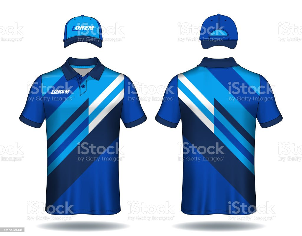 set of uniform template polo shirts and caps stock vector art more