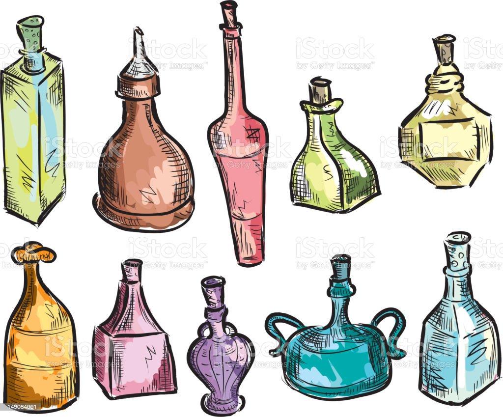 Set of unique decorative glass bottles royalty-free stock vector art