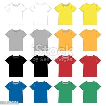Conjunto de plantilla de diseño de camiseta negra unisex. Delante y detrás