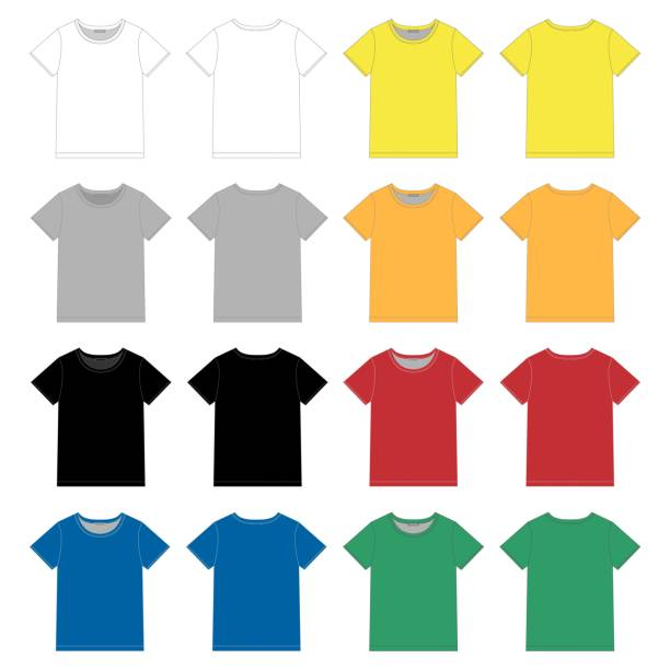 Set of unisex black t-shirt design template. Front and back Set of unisex black t-shirt design template. Front and back vector. White, gray, black, blue, yellow, red, green colors. Technical sketch. Vector illustration t shirt stock illustrations