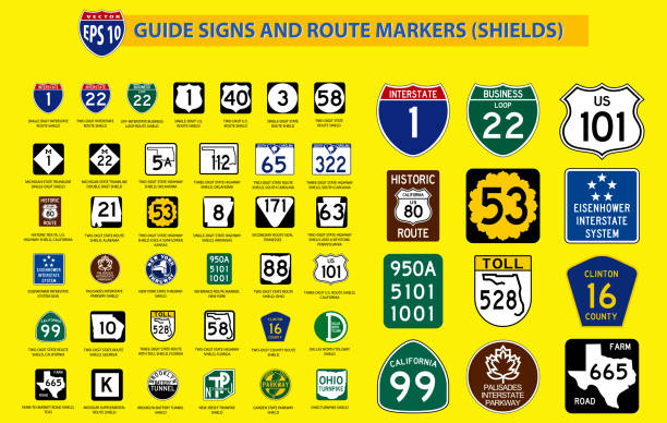 set of united state street sign. - signs and symbols stock illustrations