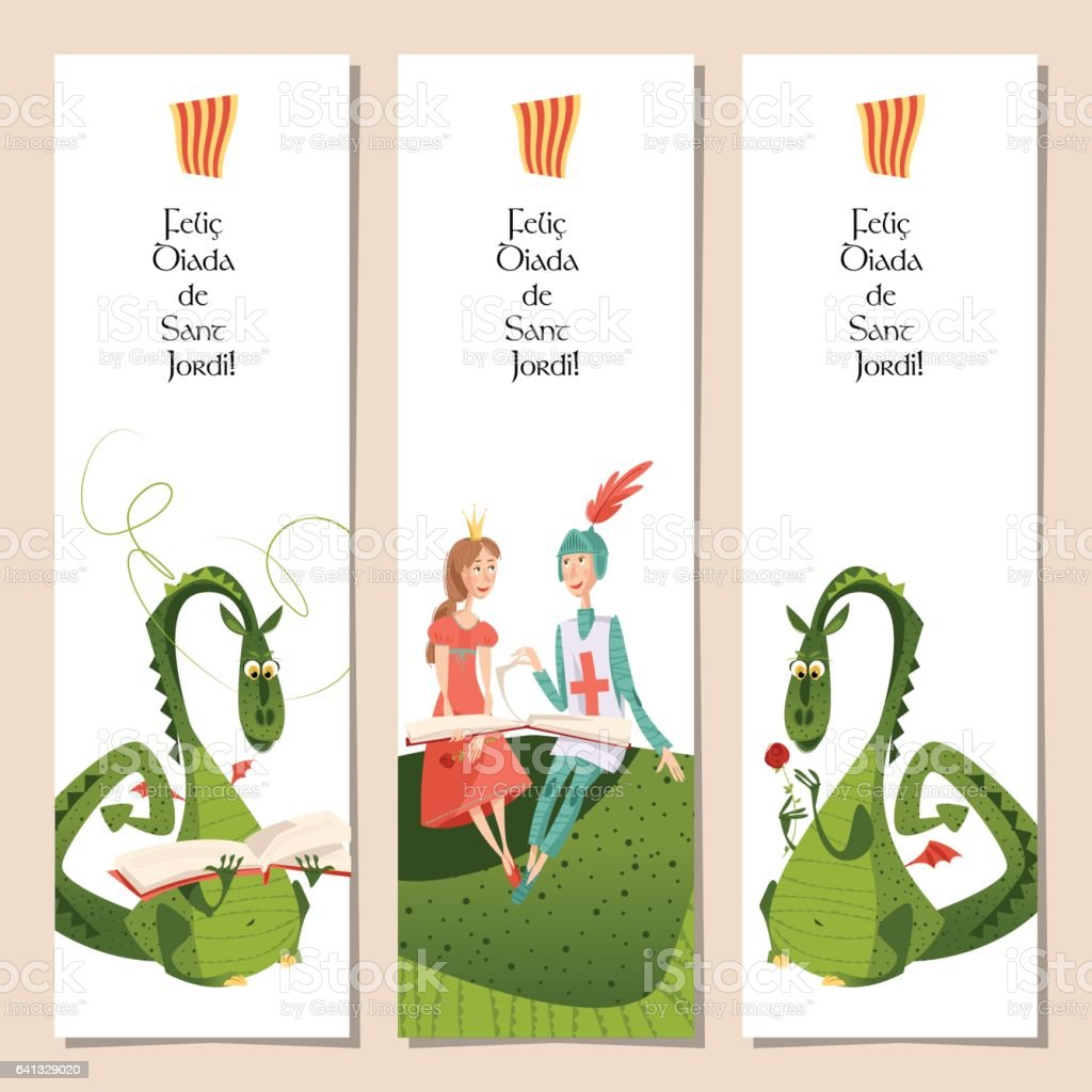 Set of universal bookmarks with princess, knight and dragons. Diada de Sant Jordi (the Saint George's Day). Congratulations. Template. vector art illustration