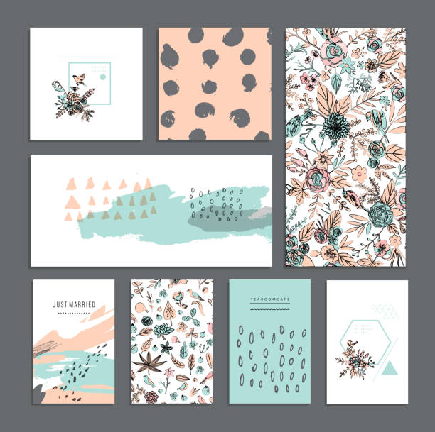 Set of universal cards. Hand Drawn textures. vector art illustration