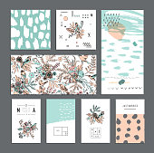 Set of universal cards. Hand Drawn textures. Wedding, anniversary, birthday, Valentine's day, party. Design for banner, poster, card, invitation, placard, brochure, flyer. Vector. Isolated.