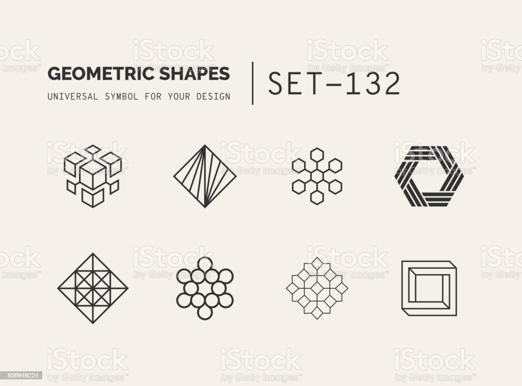 Set of universal minimal geometric vector art illustration