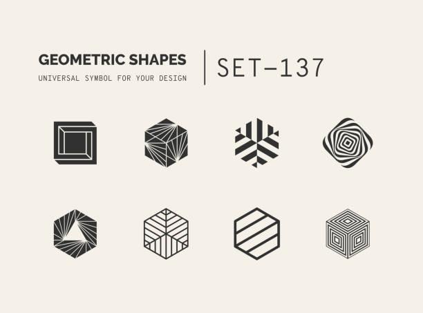 Conjunto de universal mínima geométrica - ilustración de arte vectorial