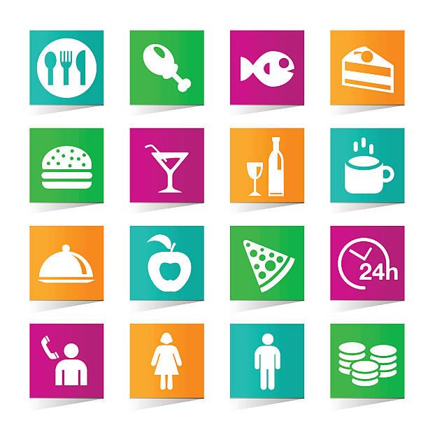 satz von universal-restaurant symbole auf weißem hintergrund. - winkelküche stock-grafiken, -clipart, -cartoons und -symbole