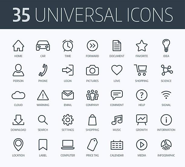 bildbanksillustrationer, clip art samt tecknat material och ikoner med set of universal thin line icons for print or web - logga in