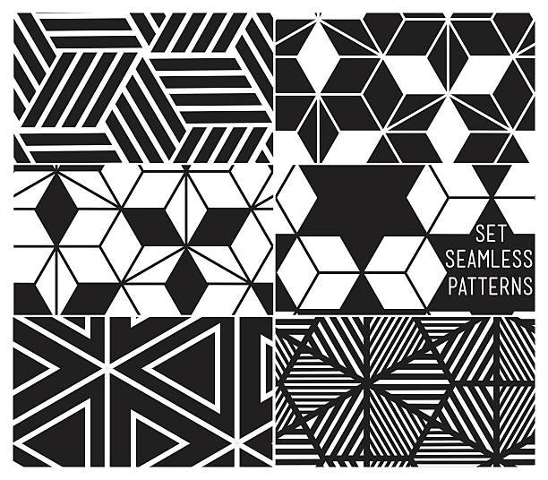 Satz von universal Vektor geometrische nahtlose Muster – Vektorgrafik