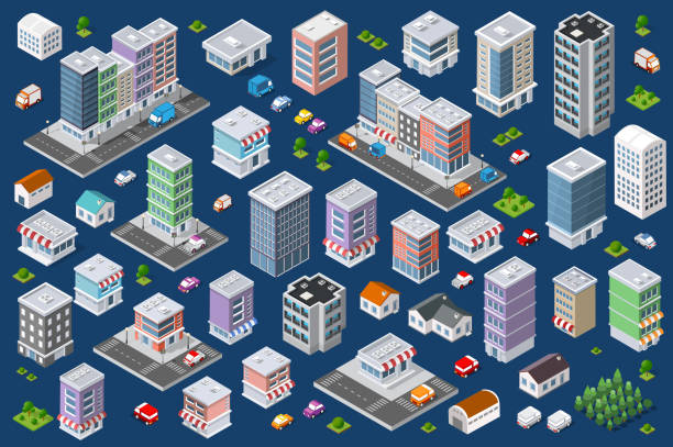 satz von städtischen wohngebäuden in verschiedenen farben - grundschule stock-grafiken, -clipart, -cartoons und -symbole
