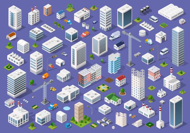 ilustrações, clipart, desenhos animados e ícones de conjunto de edifícios urbanos planos - arranha céu