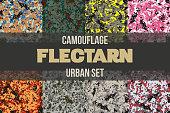 Set of Urban Flectarn Camouflage seamless pattern